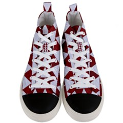 Triangle2 White Marble & Red Grunge Men s Mid Top Canvas Sneakers