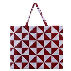 Triangle1 White Marble & Red Grunge Zipper Large Tote Bag by trendistuff