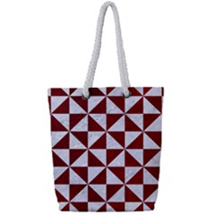 Triangle1 White Marble & Red Grunge Full Print Rope Handle Tote (small) by trendistuff