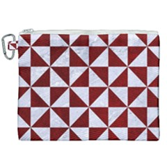 Triangle1 White Marble & Red Grunge Canvas Cosmetic Bag (xxl) by trendistuff