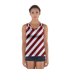Stripes3 White Marble & Red Grunge (r) Sport Tank Top