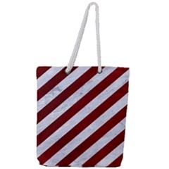 Stripes3 White Marble & Red Grunge (r) Full Print Rope Handle Tote (large) by trendistuff