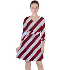 Stripes3 White Marble & Red Grunge (r) Ruffle Dress