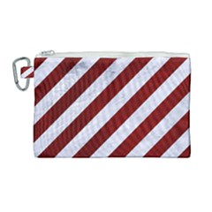 Stripes3 White Marble & Red Grunge (r) Canvas Cosmetic Bag (large) by trendistuff
