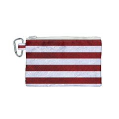 Stripes2white Marble & Red Grunge Canvas Cosmetic Bag (small) by trendistuff