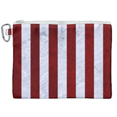 Stripes1 White Marble & Red Grunge Canvas Cosmetic Bag (xxl) by trendistuff