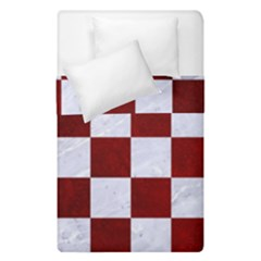 Square1 White Marble & Red Grunge Duvet Cover Double Side (single Size) by trendistuff