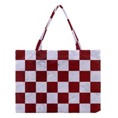 Square1 White Marble & Red Grunge Medium Tote Bag by trendistuff
