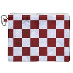 Square1 White Marble & Red Grunge Canvas Cosmetic Bag (xxl) by trendistuff