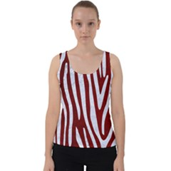 Skin4 White Marble & Red Grunge (r) Velvet Tank Top
