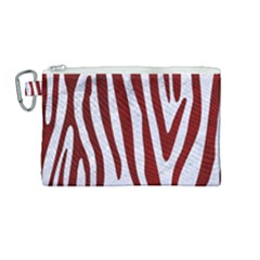 Skin4 White Marble & Red Grunge Canvas Cosmetic Bag (medium) by trendistuff