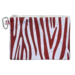 Skin4 White Marble & Red Grunge Canvas Cosmetic Bag (xl) by trendistuff