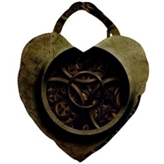 Abstract Steampunk Textures Golden Giant Heart Shaped Tote by Sapixe