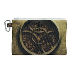 Abstract Steampunk Textures Golden Canvas Cosmetic Bag (large) by Sapixe