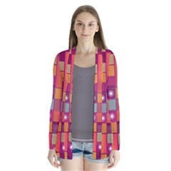 Abstract Background Colorful Drape Collar Cardigan by Sapixe