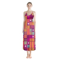 Abstract Background Colorful Button Up Chiffon Maxi Dress