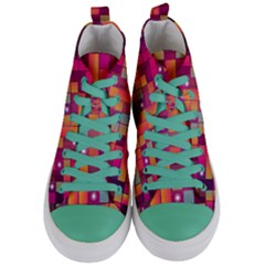 Abstract Background Colorful Women s Mid Top Canvas Sneakers