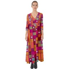 Abstract Background Colorful Button Up Boho Maxi Dress by Sapixe