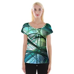 Abstract Cap Sleeve Tops