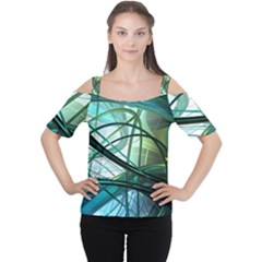 Abstract Cutout Shoulder Tee