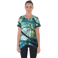 Abstract Cut Out Side Drop Tee