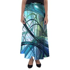 Abstract Flared Maxi Skirt by Sapixe