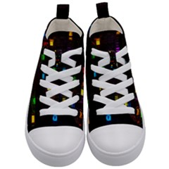 Abstract 3d Cg Digital Art Colors Cubes Square Shapes Pattern Dark Kid s Mid Top Canvas Sneakers
