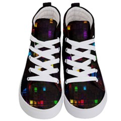 Abstract 3d Cg Digital Art Colors Cubes Square Shapes Pattern Dark Kid s Hi Top Skate Sneakers