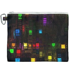 Abstract 3d Cg Digital Art Colors Cubes Square Shapes Pattern Dark Canvas Cosmetic Bag (xxxl) by Sapixe