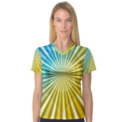 Abstract Art Art Radiation V Neck Sport Mesh Tee by Sapixe