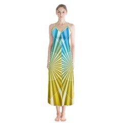 Abstract Art Art Radiation Button Up Chiffon Maxi Dress