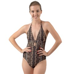 African Style Vector Pattern Halter Cut Out One Piece Swimsuit