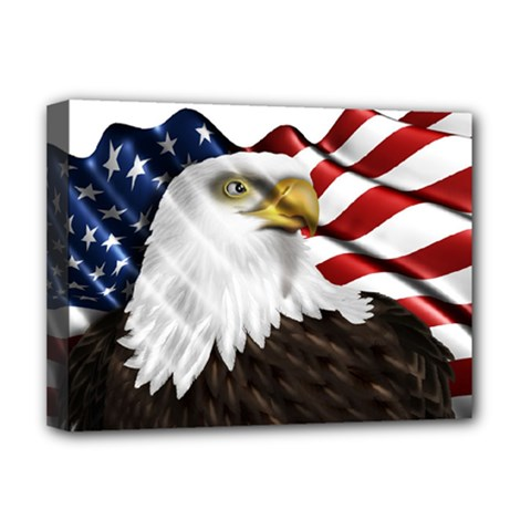 American Eagle Flag Sticker Symbol Of The Americans Deluxe Canvas 16  X 12   by Sapixe