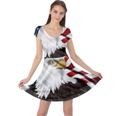 American Eagle Flag Sticker Symbol Of The Americans Cap Sleeve Dress