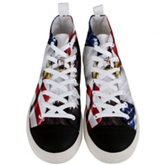 American Eagle Flag Sticker Symbol Of The Americans Men s Mid Top Canvas Sneakers
