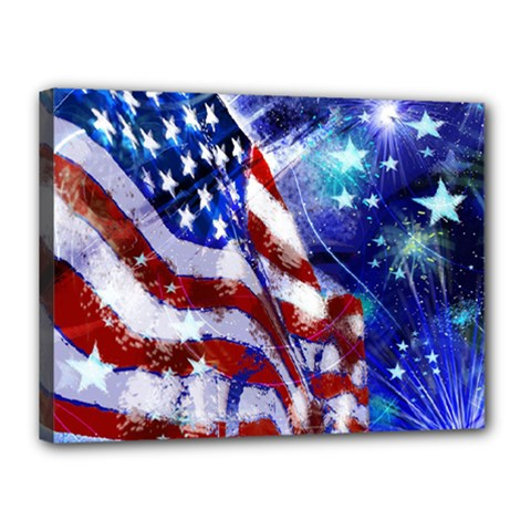 American Flag Red White Blue Fireworks Stars Independence Day Canvas 16  X 12  by Sapixe