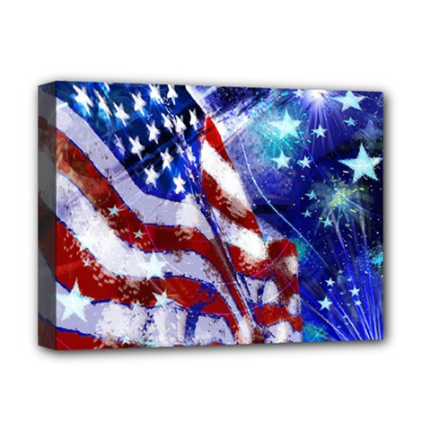 American Flag Red White Blue Fireworks Stars Independence Day Deluxe Canvas 16  X 12   by Sapixe