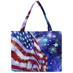 American Flag Red White Blue Fireworks Stars Independence Day Mini Tote Bag by Sapixe