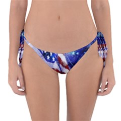 American Flag Red White Blue Fireworks Stars Independence Day Reversible Bikini Bottom