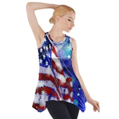 American Flag Red White Blue Fireworks Stars Independence Day Side Drop Tank Tunic