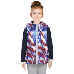American Flag Red White Blue Fireworks Stars Independence Day Kid s Hooded Puffer Vest