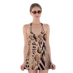 Animal Fabric Patterns Halter Dress Swimsuit  by Sapixe