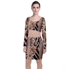 Animal Fabric Patterns Long Sleeve Crop Top & Bodycon Skirt Set