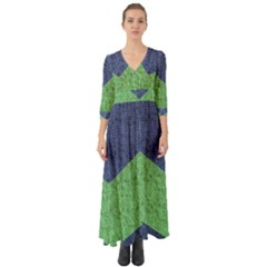 Arrow Texture Background Pattern Button Up Boho Maxi Dress by Sapixe