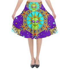 Alien Mandala Flared Midi Skirt