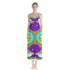 Alien Mandala Button Up Chiffon Maxi Dress