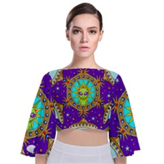 Alien Mandala Tie Back Butterfly Sleeve Chiffon Top