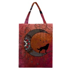 Black Wolf On Decorative Steampunk Moon Classic Tote Bag