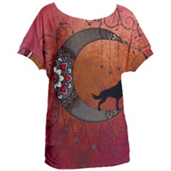 Black Wolf On Decorative Steampunk Moon Women s Oversized Tee by FantasyWorld7