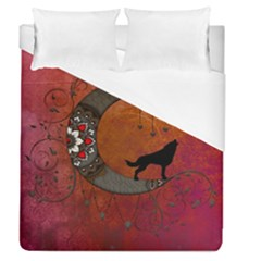 Black Wolf On Decorative Steampunk Moon Duvet Cover (queen Size) by FantasyWorld7